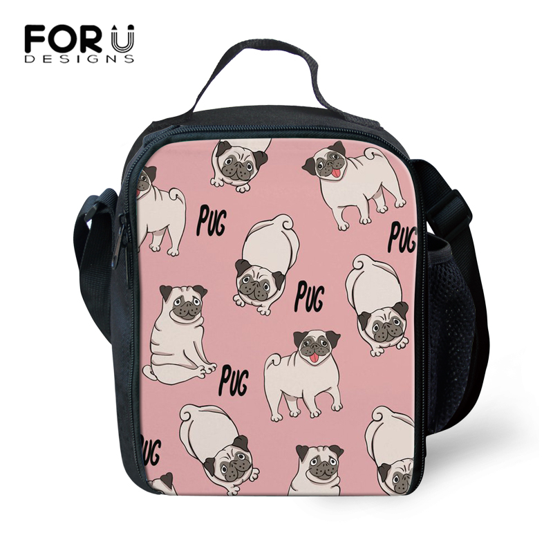 FORUDESIGNS Kids Cooler Lunch Bag Cute Pug Printed Girls Thermal Insulated Lunch Box For School Children Picnic Food Bag Women