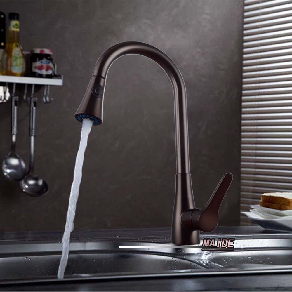 Solid Brass Single Lever High Arc Pull Down Kitchen Faucet with Retractable Pull Out Wand Swivel