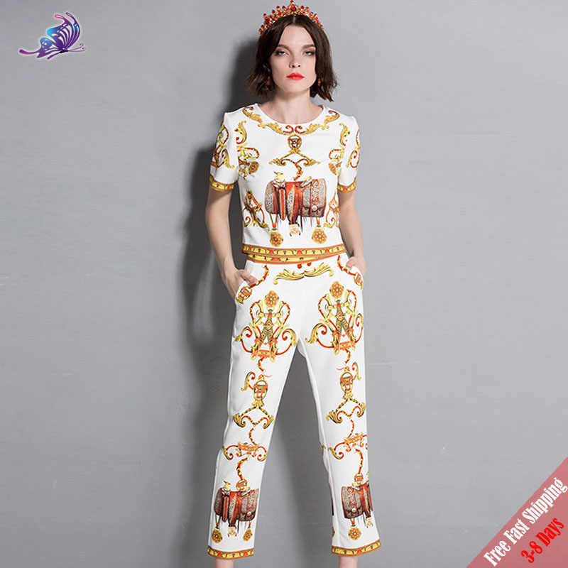 5471197ccefc New 2018 Fashion Runway Summer Suit Women s High Quality Designer Vintage  Pattern Print Beading Tops and