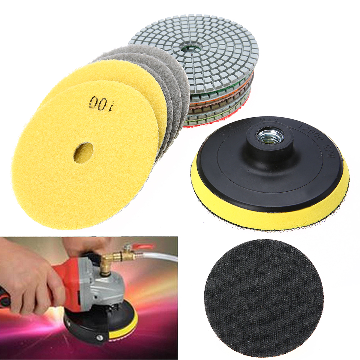 12pcs 4 inch Diamond Polishing Pads With Polishing Wheel Set Mayitr For Granite Concrete Marble working with concrete