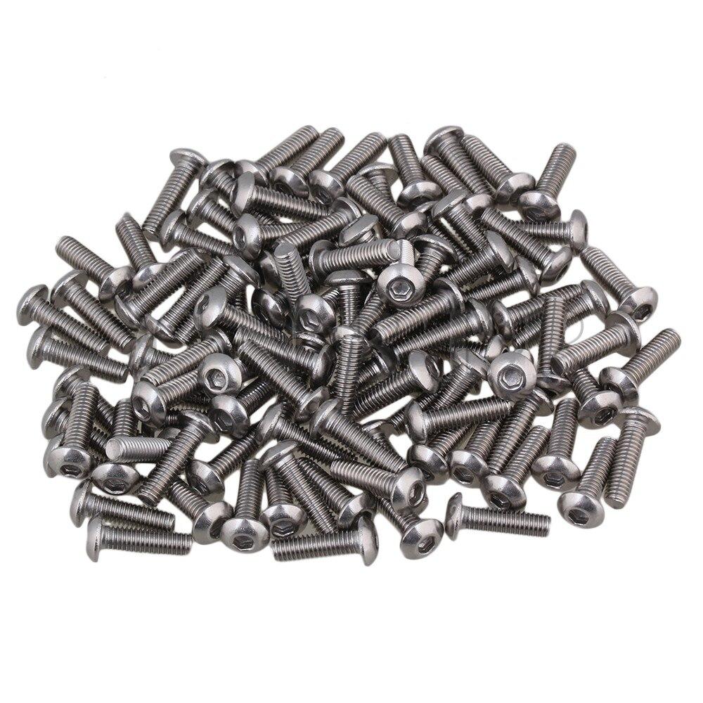 CNBTR 100pcs Size 0.43x0.2 Inch Hex Socket Cap Screws Bolts M3 Metric 20pcs m3 6 m3 x 6mm aluminum anodized hex socket button head screw