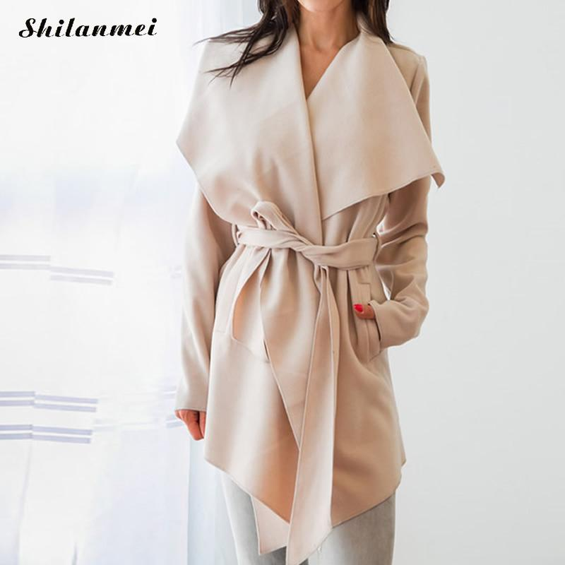 2018 New Fashion Women   Trench   Coat Autumn Spring Long Cardigan Coat With Belt Causal Lape   Trench   Coat For Women Casaco Feminino