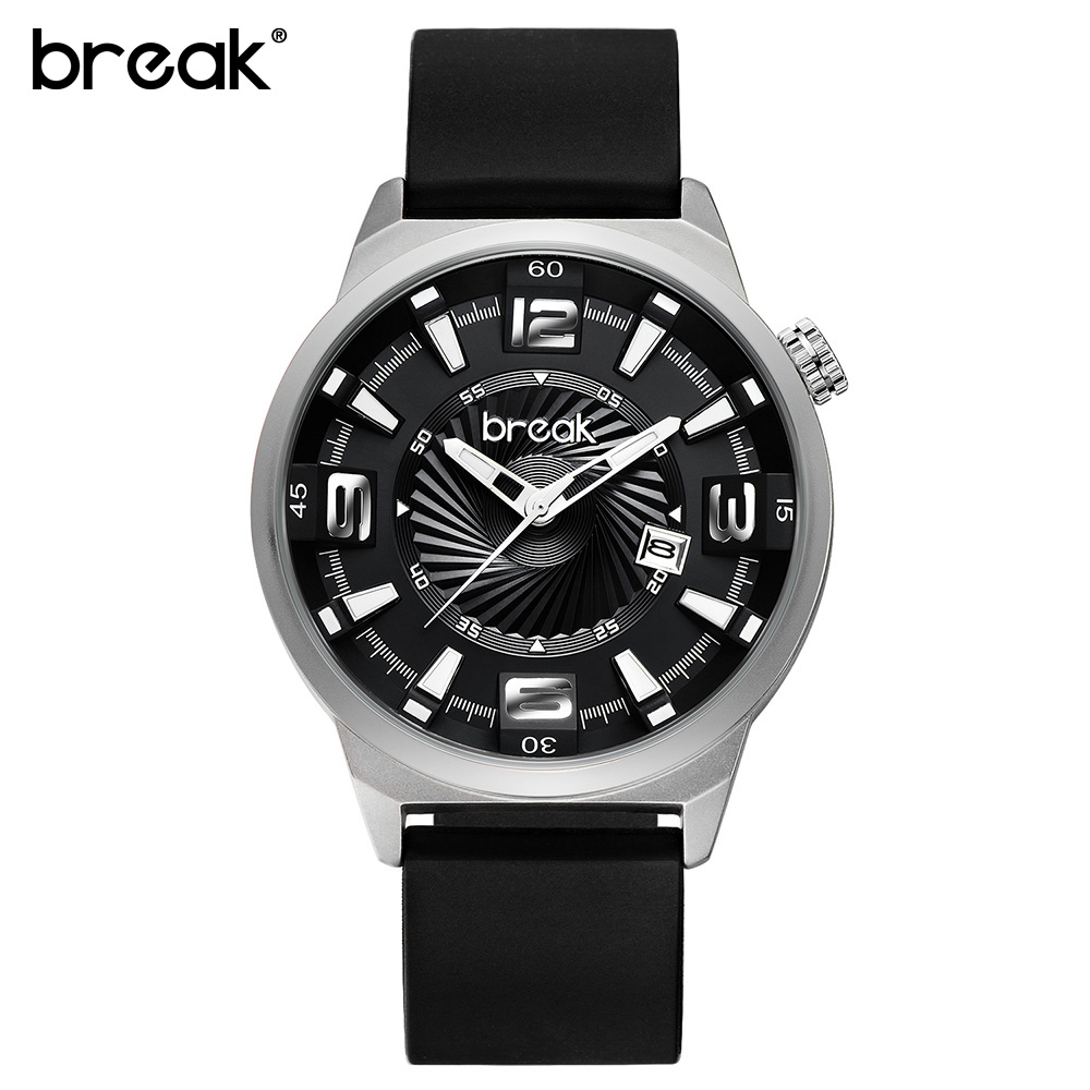 BREAK Futuristic Mens Watch Top Brand Luxury Rubber Strap Waterproof Military Quartz Sports Watches Men Wristwatch Reloj Hombre 2016new futuristic luxury men women black waterproof fashion casual military quartz hot brand sports watches relogios wristwatch