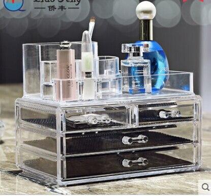 Clear Case maquillage cosmétiques sac organisateur stockage de bijoux acrylique boîte de meuble en plastique acrylique maquillage boîte de rangement