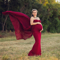 Shoulderless Maternity Dresses For Photo Shoot Maternity Photography Props Pregnancy Dresses For Pregnant Women Clothes Vestidos