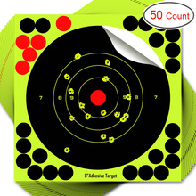 50pack shooting stickers - 8 inch Adhesive shooting  Hunting and shooting target stickers, ultimate gun shooting solution цена