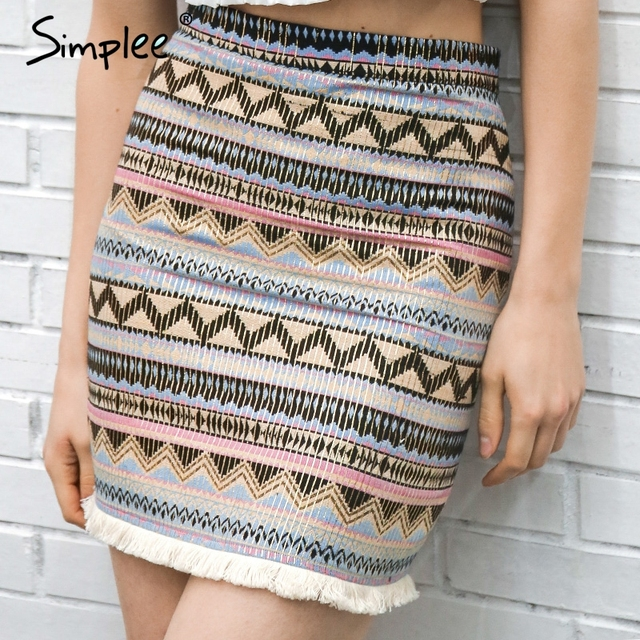 Simplee Vintage pencil skirts womens bottom Boho chic tassels ethnic high waist skirt summer Beach female mini short skirt