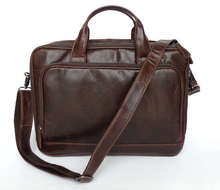 Genuine Leather Bag Men Messenger Bags Cowhide Portfolios Business Men's Travel Bags Shoulder Bag 14″ Laptop Briefcase #VP-J7005