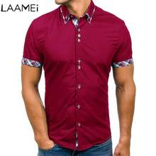 Laamei Summer Shirt Men's Classic Double Collar Mens Casual Slim Short Sleeve Shirt Plaid Color Match Male Dress Shirts Fashion(China)