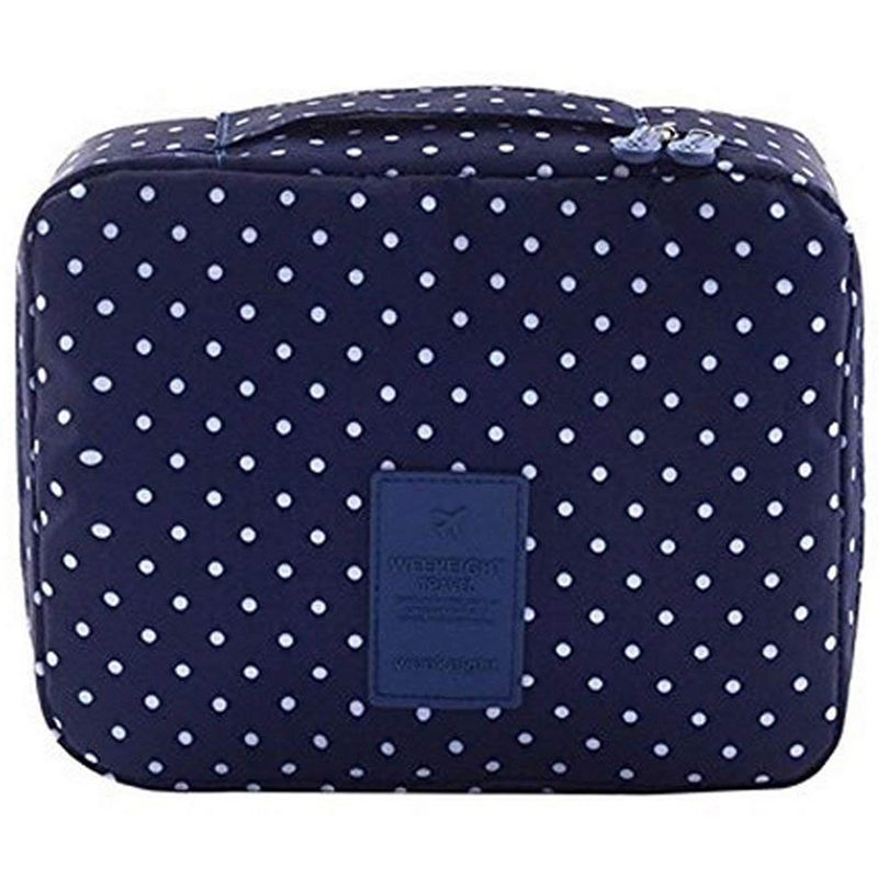 Travel Cosmetic Bag Printed Multifunction Portable Toiletry Bag Cosmetic Makeup Pouch Case Organizer For Travel (Navy Circle)