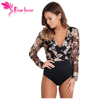 Dear Lover Spring 2018 Woman Bodysuits Sexy V-neck Gold Sequin Black Mesh Long Sleeve Top Macacao Body Feminino Jumpsuit LC32173