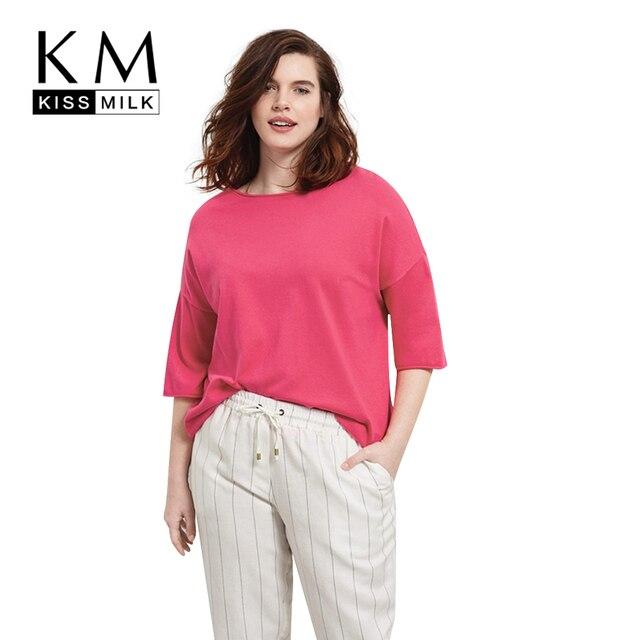 Kissmilk Plus Size New Fashion Women T-shirt Casual Solid O-Neck Tops Streetwear Big Large Size T-shirt 3XL 4XL 5XL 6XL