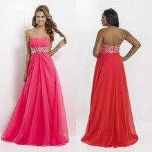 Prom Kleider Neue 2015 Hot A-line Bodenlangen Chiffon Lang Abendkleid Formale Kleid Schatz Homecoming Kristalle F677