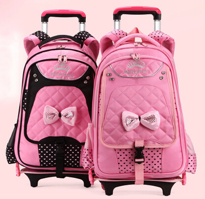 2015 New Pattern Multifunctional Trolley School Bags For Girls With Wheels Rollingcute Nylon Waterproof Orthopedic Backpacks In From Luggage