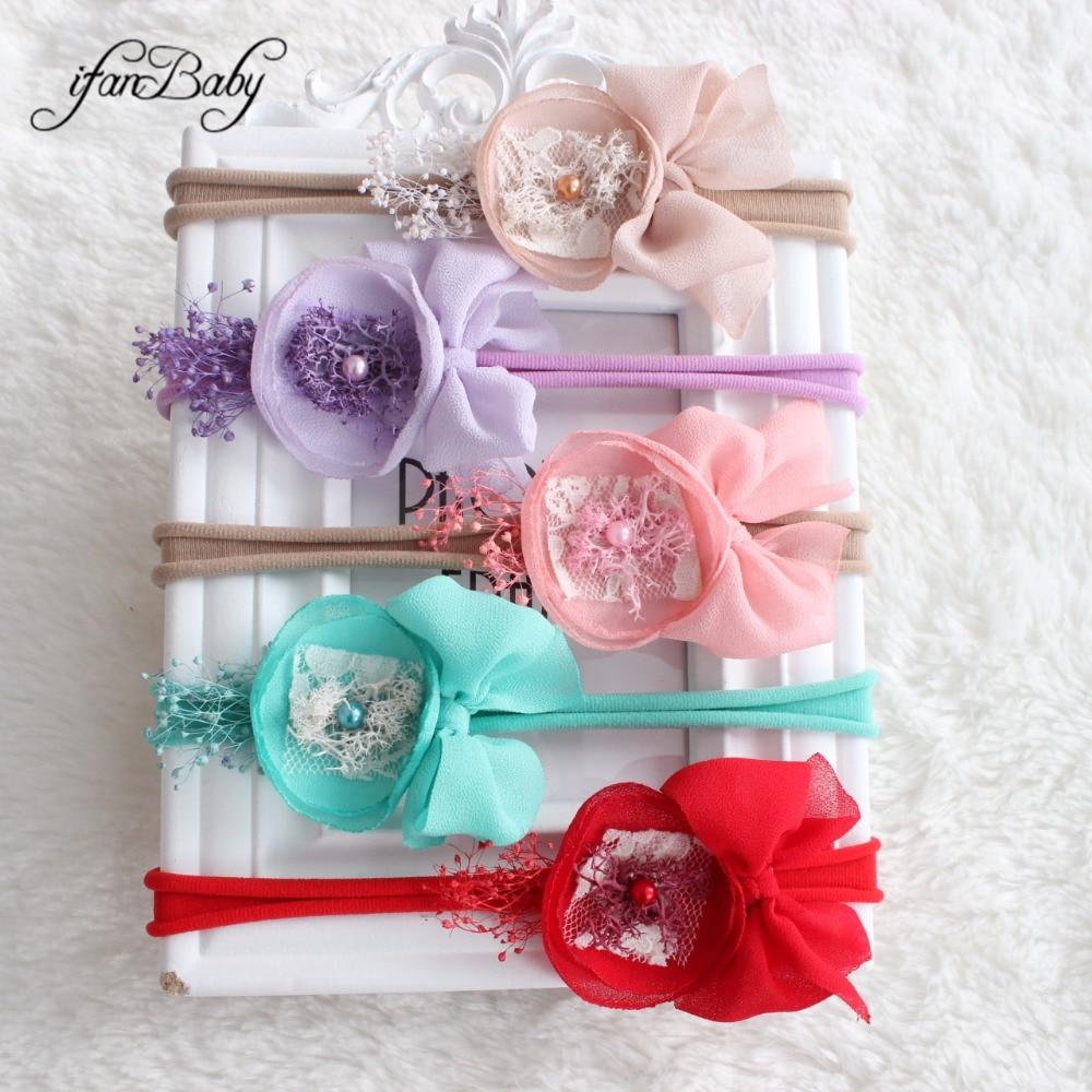 Boutique kids girl chiffon flower headwear elastic headband bow flower headband