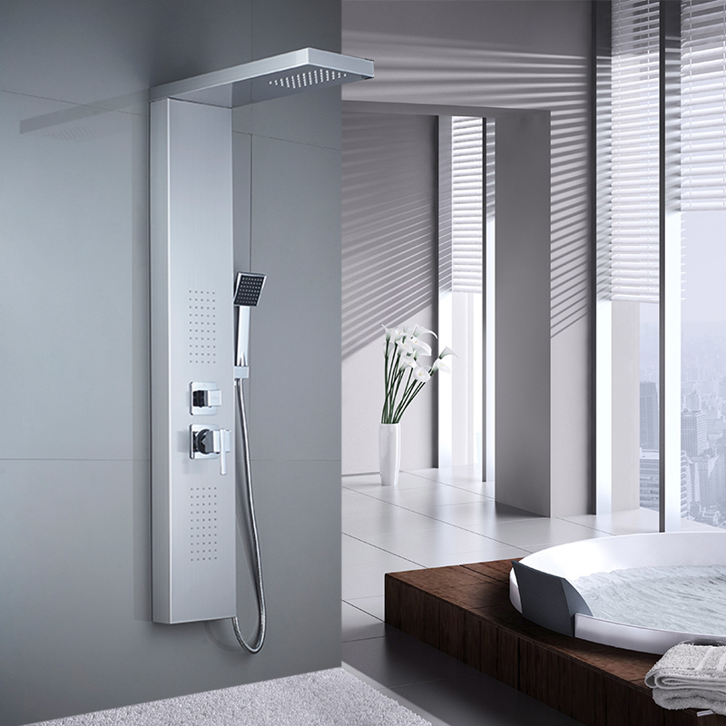 Image 2 - ROVATE Bathroom Shower Panel 304 Stainless Steel Bath Shower Set with Hand Shower Wall Mount Shower FaucetsShower Faucets   -