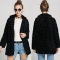 2017 wool blend long coat for women autumn winter jacket Single breasted Sheep wool Thick Warm Fur Woolen coat jacket women pink