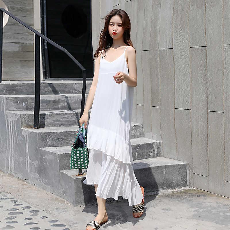 Летние сексуальные женские платья Свободное длинное платье из шифона на бретельках с v-образным вырезом женское Макси платье без рукавов