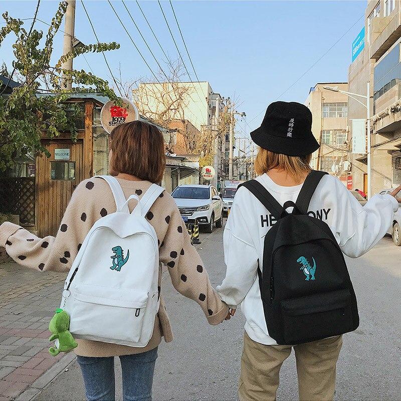 Women Backpacks Schoolbag Canvas Dinosaur Print Casual Student Mochila Preppy-Style Fashion