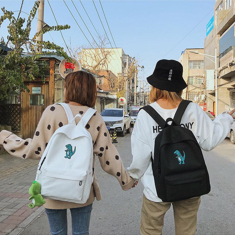 Fashion Dinosaur Print Women Backpacks Canvas Dayback Casual Preppy Style School Backpack Student Schoolbag Mochila