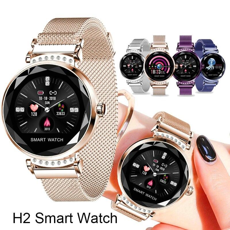 Mais recente Moda H2 Relógio Inteligente Mulheres 3D Diamante Coração De Vidro Taxa de Pressão Arterial Monitor de Sono Melhor Presente Smartwatch