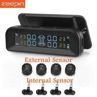 ZEEPIN C260 TPMS Solar Power LCD Display Tire Pressure Monitoring System With 4 External/Internal Tyre Pressure Sensor