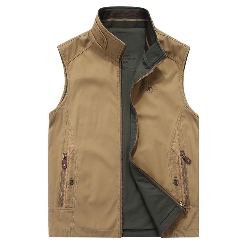 2018 New Military Vest Men Chalecos Para Hombre Gilet Men High Quality Cotton Reversible Men's Vest Plus Size 5XL