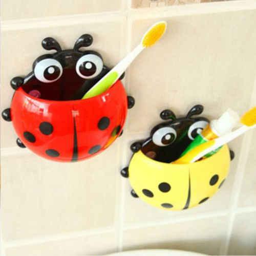 Nowość zestaw łazienkowy sanitarny dla dzieci biedronka do montażu na ścianie uchwyt na szczoteczkę do zębów Cartoon zwierząt uchwyt szczotki z przyssawką najnowszy