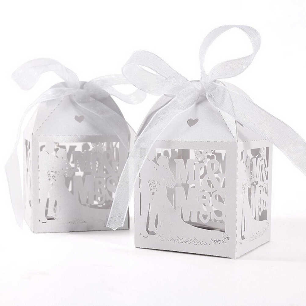 8801c820788d ... 10PCS White Candy Paper Party Box Mr Mrs Married Wedding Favor Box Gift  Boxes Event Party Supplies ...