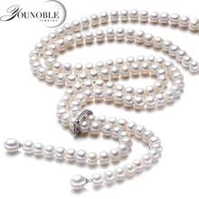 Женское длинное ожерелье из серебра 900 пробы, с натуральным пресноводным жемчугом, 925 мм