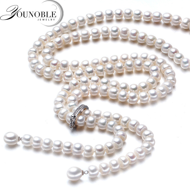900mm Tassel Fashion Long Pearl Necklace Natural Freshwater Pearl 925 Sterling S