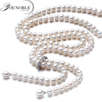 900mm Tassel Fashion Long Pearl Necklace Natural Freshwater Pearl 925 Sterling Silver Jewelry For Women Statement Necklace Gift