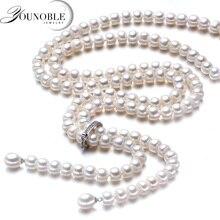 900mm borla moda longa pérola colar natural de água doce pérola 925 prata esterlina jóias para mulheres colar de indicação presente