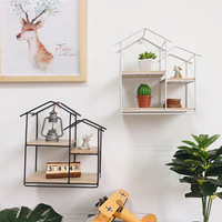Creative Wrought Iron Small House Storage Rack Personality Bookshelf Metal Crafts Living Room Cafe Wall Home Decorations Gifts