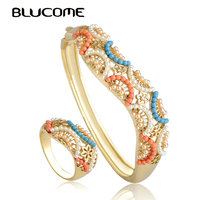 Blucome Fashion Semicircle Bangle Ring Set Gold Color Alloy Women Bijoux Classic Hollow Out Flower Jewelry