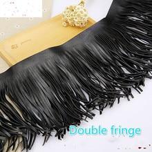 15 см черная замшевая кожаная кружевная юбка с кисточками сумка для одежды ручной работы DIY аксессуары 1 ярдов