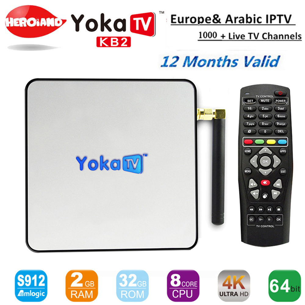 KB2 smart tv box android 6.0 S912 4k Smart tv+12 month Europe Arabic IPTV 1000+ French UK DE Italy Germany Spain Africa Channels