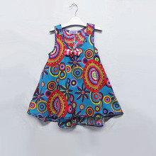 AD Floral National Style Girls Beach Casual Dresses Cute Bohemian Sleeveless Childrens Clothing