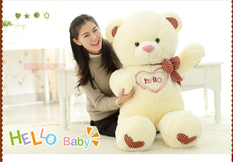 The lovely bow Teddy bear doll heart hello bear plush toy doll birthday gift white about 90cm new creative plush bear toy cute lying bow teddy bear doll gift about 50cm