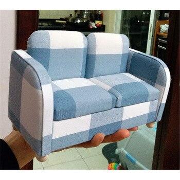 16 sofá suave en miniatura doble azul para muñecas de 30 cm, muebles de casa de muñecas kawaii, juguetes para juego de imitación para niños y niñas, regalos