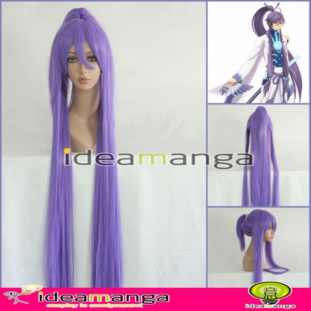 Manga Amime V+ Vocaloid Gackpoid Gakupo Kamui purply  Cosplay Hair Wig High-temperature Resistance Fibers halloween party 100cm