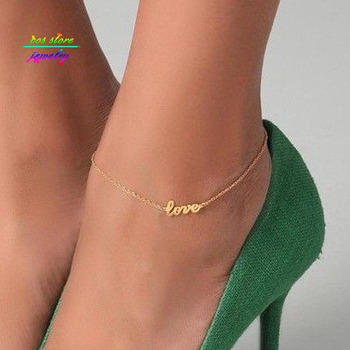 New Summer Style Gold/Silver/Black Plated LOVE Letter Statement Anklet For Women Bracelet Bijoux