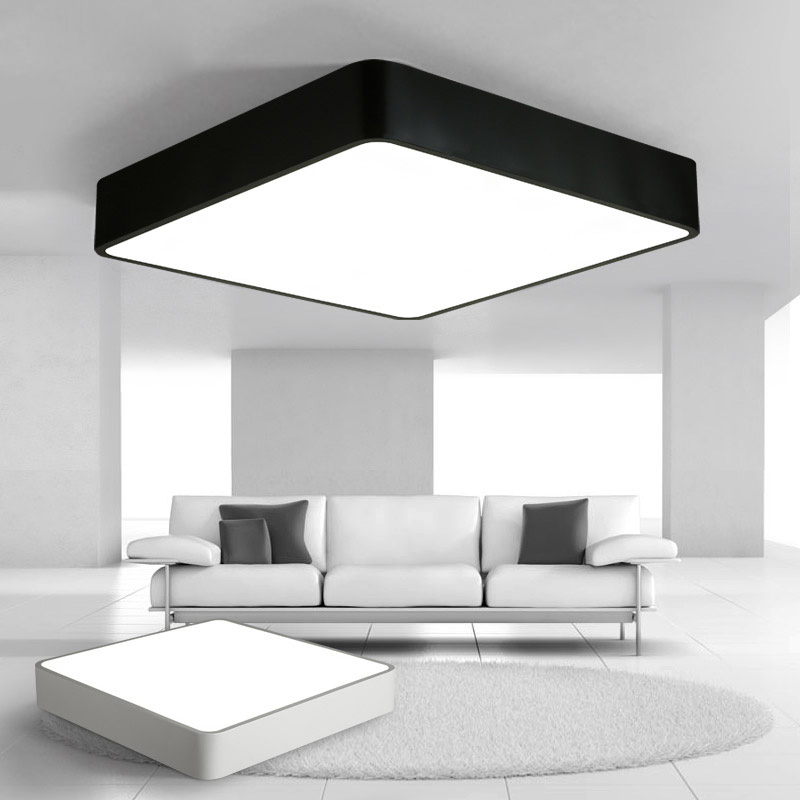 Modern Remote Control Square Led Panel Surface Mounted Ceiling Lamp White/black Bathroom Lighting Ac110-240v Luminarias Para Ceiling Lights & Fans Ceiling Lights