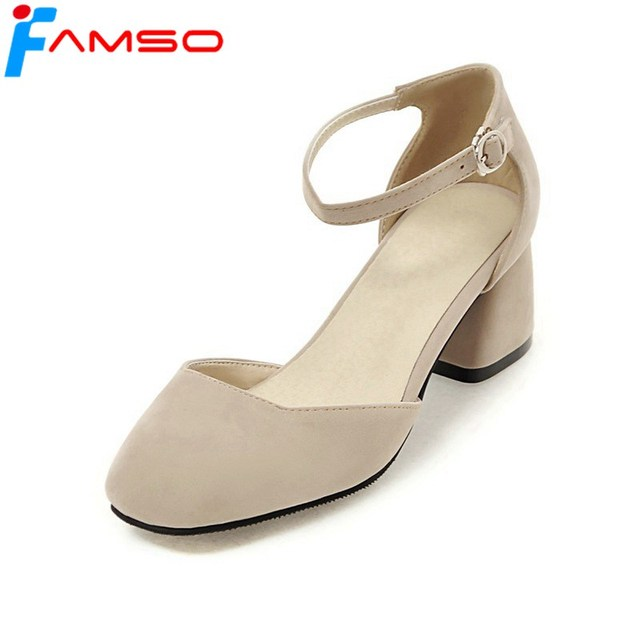 f5e0319846f FAMSO Size34-43 2019 New Women Sandals black Thick Heels Ankle Strap  Sandals red beige Fashion Summer Round toe Sandals