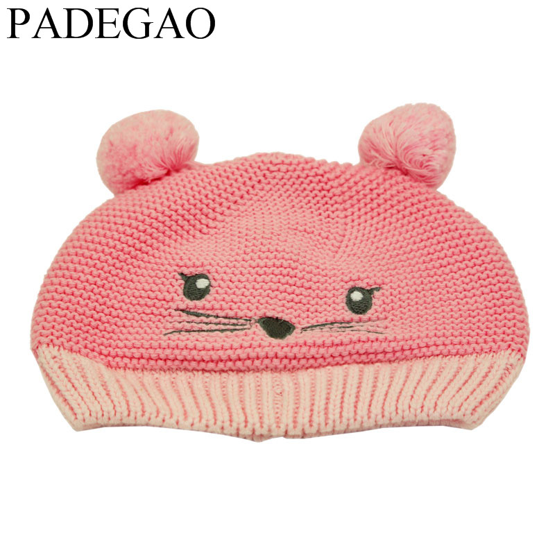 2017 Cute Cat dog  Warm Winter Autumn  Crochet Baby Hat Girl Boy Cap Children Beanie  Cotton knitted toddlers Hats gift children knitting wool hat cute keep warm rabbit beanie cap autumn and winter hat with earflaps whcn