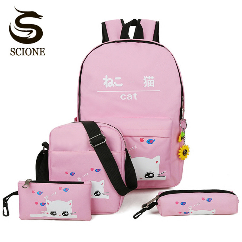 Scione Cartoon Cat Printing Backpack Student Back Bag Cute 4PCS Set Backpacks Teenagers Laptop Rucksacks Schoolbag Harajuku Bag ...