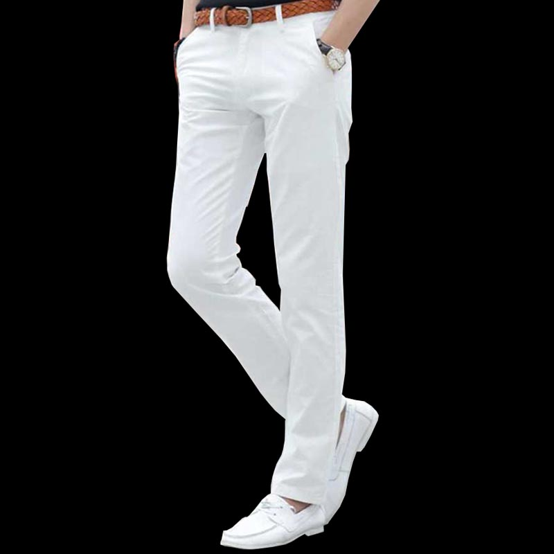 brand fashion cotton men dress pants white casual male trousers ...