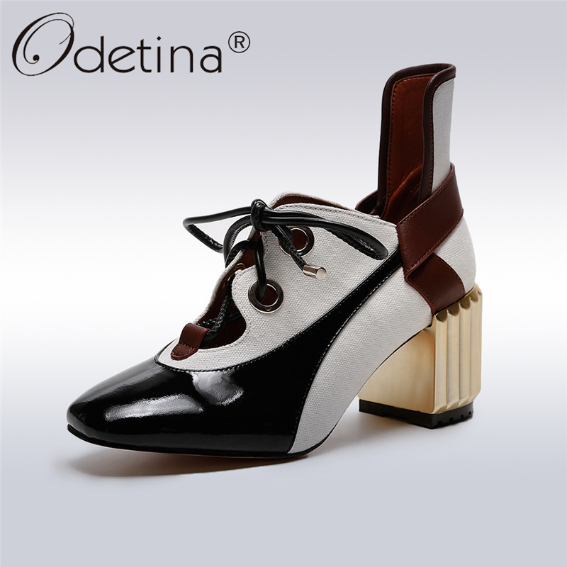 Odetina 2018 New Fashion Women Genuine Leather Pumps Square Toe Lace Up Shoes Ladies Elegant Square High Heels Pumps Big Size 43 big size 11 12 elegant round toe lace up casual square heel women s shoes high heels pumps woman for women