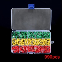 New 990pcs Electrical Wire Connector Crimp Ferrules Terminals Assortment Kit Cable End Wire Pin Terminal WWO66