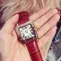 Горячий продавать женщины подлинная кожаный ремешок большой циферблат наручные часы Женщина площади женские часы Оригинальные моды случайные часы relojes